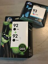 New HP 92 Black Ink Cartridge Double Pack 93 Tri Color Exp 2013 2015