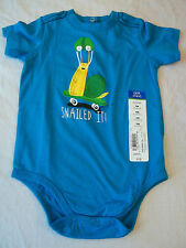 Okie Dokie Bodysuit Boys  9 Months  Snailed It Blue New W Tags