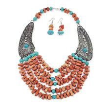 Fashion Ethnic Necklace Clay Beads Multi Color Strand Tribal Necklace Set