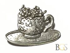 .925 Sterling Silver Cup & Plate Cherries Pin / Brooch - Free S&H - Patina