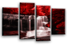 Le Reve Waterfall Landscape Wall Art Canvas Forrest Split Picture Red Grey White