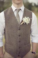 UK Mens Brown Herringbone Wool Blend Tweed Waistcoat Wedding Casual Vest