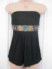 Oasis size 8 strapless jersey material black top with beads and tie belt