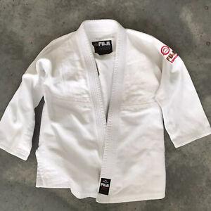 Fuji GI & Gear White Ribbed Trim Kimono C3