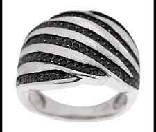 VICENZASILVER STERLING SILVER 0.80 CT BLACK SPINEL SWIRL RING SIZE 5 QVC $73.00