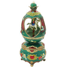Green Merry Go Round Music Box And Trinket Box  With Swarovski Elements Crystals