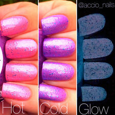 Unicorn Pink to Purple Color Changing AND Purple Glow in the Dark Nail Polish