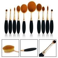 Beauty Make-up Oval Brushes Set Eyebrow/Foundation/Contour Kits 10Pcs 🔥