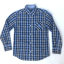 Chaps M 10-12 Medium Boys Button Up Blue Plaid Shirt Long Sleeve Dressy