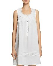 6d96025a35 Eileen West Sleeveless Short Gown 100% Cotton Chemise White Xlarge