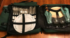 PICNIC BACKPACK 4 PERSON SET - COOLER SPACE - WINE HOLDER - PLATES & CUTLERY SET