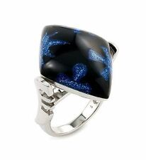 ALAN K. DESIGNO COLLECTION BLACK SHAPE RESIN, BLUE FLOWERS & 925 ST/SILVER RING