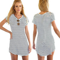 UK Womens Blouse Mini Dress Casual Loose Short Sleeve Striped Long T Shirt Tops