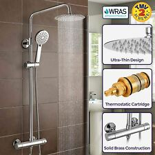NIKI SLIM ROUND THERMOSTATIC DUAL CONTROL TWIN HEAD SHOWER MIXER WRAS APPROVED