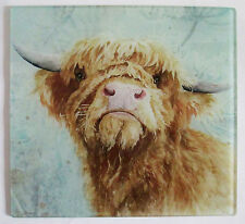 Highland cow , glass chopping board, pot stand, placemat, contemporary picture