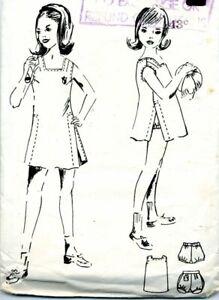 Precut Sewing Pattern Girls Vintage Pullover School Uniform Dress Panties 12