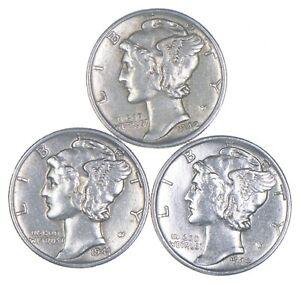 Lot of 3 AU/Unc 1942, 1941, 1944-S Mercury Dimes 90% Silver Collection *384