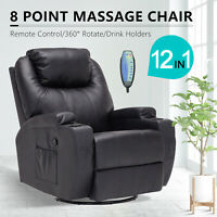 Electric Massage Recliner Sofa Leather Vibrating Heated Chair Lounge Cup Holder