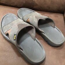 Men's Sz 12 M Teva Katavi 2 Gray Suede & Mesh Slide Sandals