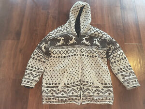 Made in NEPAL 100% Wool Hand Knit Himalayan Hoodie Jacket Surf XXL Pockets