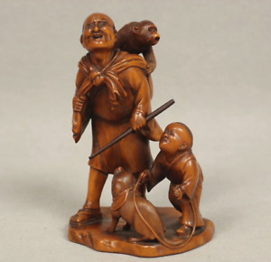 Japanese Antique Woodcarving Oldman Child Monkey and Dog Small Figurine Meiji