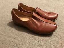 WOMENS NATURALIZER BROWN SLIP ON LEATHER SHOES UK 7 N5 COMFORT FLATS