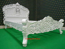 """BESPOKE  Double size 4'6""""  White French style designer Oriental Rococo Bed"""