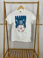 VTG Signal 90s Soccer Big Logo Ball Single Stitch White T-Shirt Size M USA
