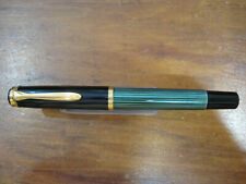 *PELIKAN M400 SOUVERAN* FOUNTAIN PEN-BLACK GREEN-18K Gold Nib -STILOGRAFICA-80's