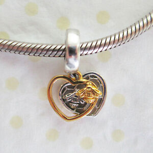 Genuine .925 STERLING SILVER HEARTS & BEES European Pendant CHARM BEAD