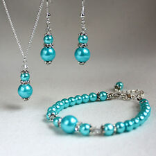 Turquoise vintage crystal pearls necklace bracelet earrings silver wedding set