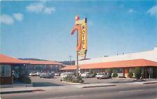 Millbrae California~Curved Arrow Sign~Millwood Motel~1960s Postcard