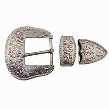 3 pieces Matte Silver finish Western Buckle set with Pink Crystals.