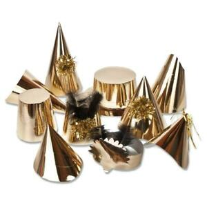 Pack of 50 Assorted Adult Gold Party Hats With Tinsel Trims & Feathers Details