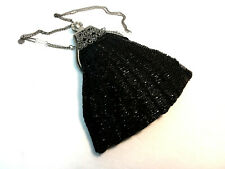 Black Beaded handbag Victorian Edwardian Vintage Downton style reticule NEW
