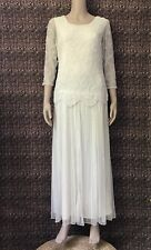 Pisarro Nights Dress Beaded Sequin Drop Waist Evening U Neck Long Ivory Size 8