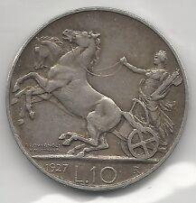 ITALY,  1927-R, ONE STAR,  10 LIRA, SILVER,  KM#68.1,  EXTRA FINE