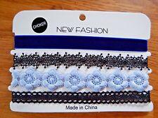 BLUE & BLACK CHOKER SET lace velvet flowers ribbon band collar necklace lot 8Z