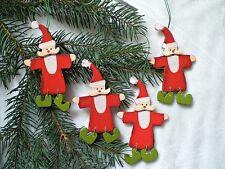 ❀ 4 x Nikolaus Hänger Holz Rot 10cm Christbaumschmuck Weihnachtsmann #241