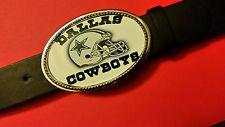 "DALLAS COWBOYS EPOXY PHOTO BUCKLE  & Black Bonded Leather Belt 28"" - 52"""