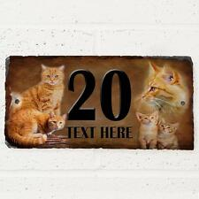 Personalised Ginger Tabby Cat Door House Slate Sign Name Number Plaque