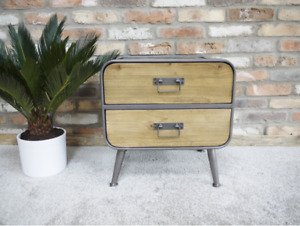 PAIR 2 Drawer Retro Industrial Style Storage Cabinets Bedside Tables
