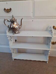 Antique ornate gray painted wood 3 shelf unit display shelves book shelf