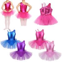 Girl Kid Metallic Ballet Dance Dress Gymnastic Skater Tutu Skirt Party Dancewear