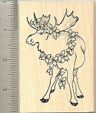 Holiday Moose Christmas Rubber Stamp Wood Mounted K7307