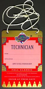 1993 World Series Baseball Technician Credentials Games 1,2,6 Toronto Blue Jays