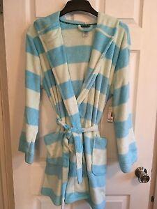 Joe Boxer Women's Hooded Fleece Robe - TURQUOISE STRIPE  SZ XL
