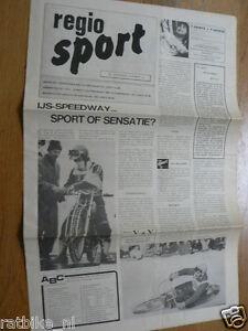 1973 DUTCH PAPER AND PROGRAMME REGIO SPORT IJSSPEEDWAY DEN HAAG ? UITHOF