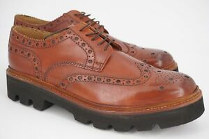$550   NEW GRENSON 10 G US 11 ARCHIE BROGUE SMOOTH BURNISHED BROWN RUBBER SOLE