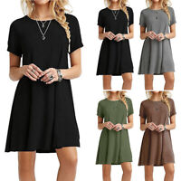 Women Short Sleeve Shift Dress Ladies Round Neck Pure Casual Beach Mini Dress